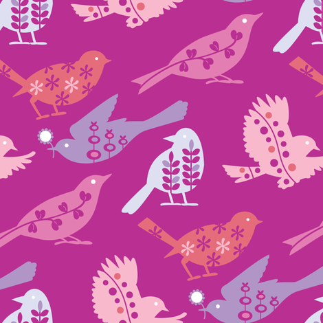Busy Birds fabric by kayajoy on Spoonflower - custom fabric
