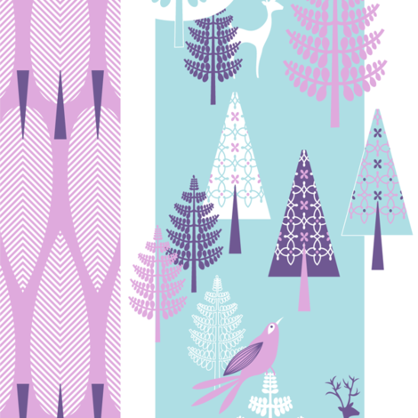 Enchanted Forest - mauve & turquoise fabric by kayajoy on Spoonflower - custom fabric