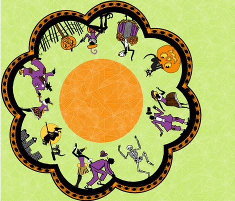 "36"" Round Gibson Halloween Border Print fabric by muddyfoot on Spoonflower - custom fabric"