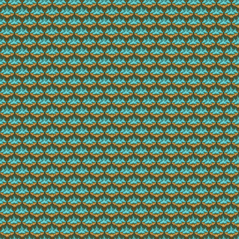 MICRO20 Flamestitched Dragon Scales in Teal and Gold-ed fabric by glimmericks on Spoonflower - custom fabric