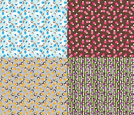 4 kokeshi style for 1 yard fabric by mariao on Spoonflower - custom fabric