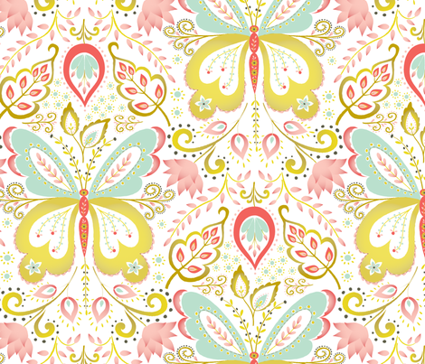 Springtime Mariposa - coral fabric by kayajoy on Spoonflower - custom fabric