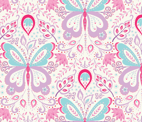 Springtime Mariposa - purple fabric by kayajoy on Spoonflower - custom fabric