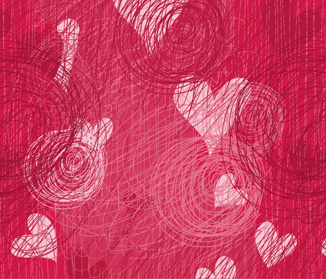doodle vector hearts seamless pattern fabric by anastasiia-ku on Spoonflower - custom fabric