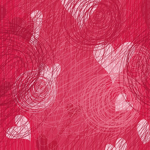 doodle vector hearts seamless pattern