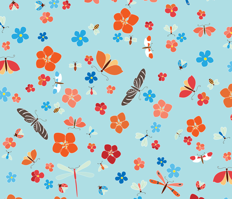 Bugs & Blooms fabric by kayajoy on Spoonflower - custom fabric