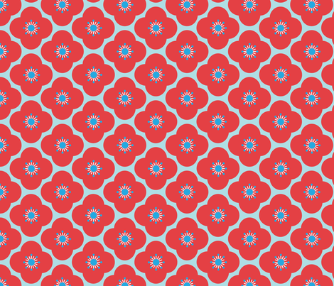 Bloom Clouds - red & blue fabric by kayajoy on Spoonflower - custom fabric
