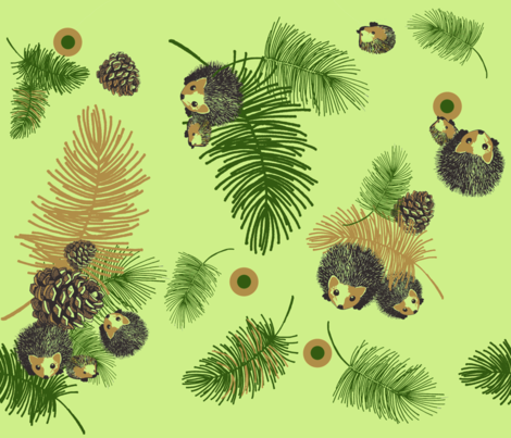 Pinecones_and_Hedgehogs fabric by golders on Spoonflower - custom fabric