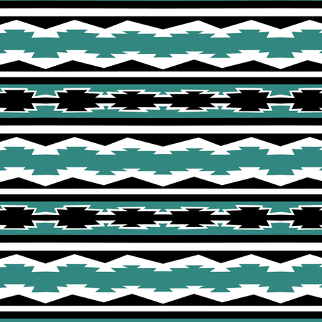 Western Stripe in Teal fabric by pond_ripple on Spoonflower - custom fabric