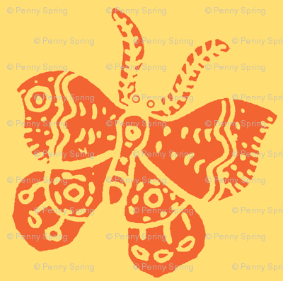 Tangerine Butterfly on Soft Yellow