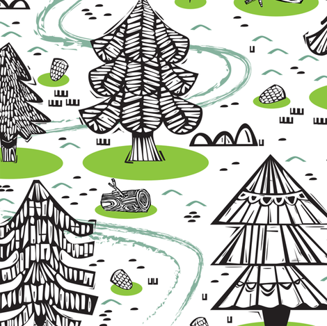 EVERGREEN WONDERLAND fabric by gsonge on Spoonflower - custom fabric