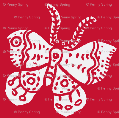 White Butterfly on Tomato Red