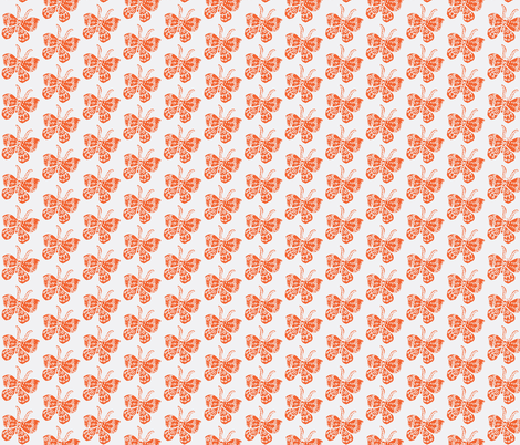 Tangerine Butterfly on White fabric by bad_penny on Spoonflower - custom fabric