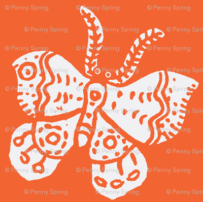 White Butterfly on Tangerine