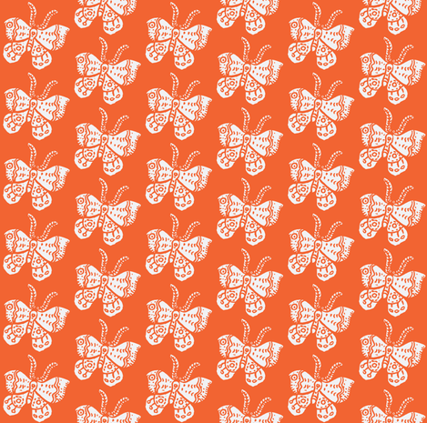 White Butterfly on Tangerine fabric by bad_penny on Spoonflower - custom fabric