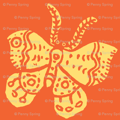 Soft Yellow Butterfly on Tangerine