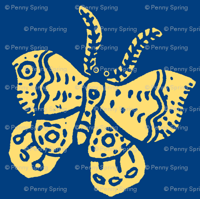 Soft Yellow Butterfly on Blue