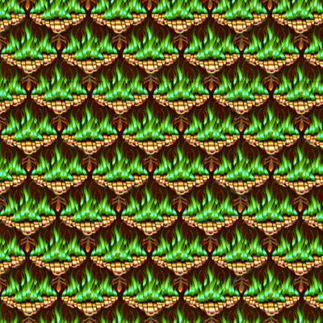 Flamestitch in Emerald Fire  fabric by glimmericks on Spoonflower - custom fabric