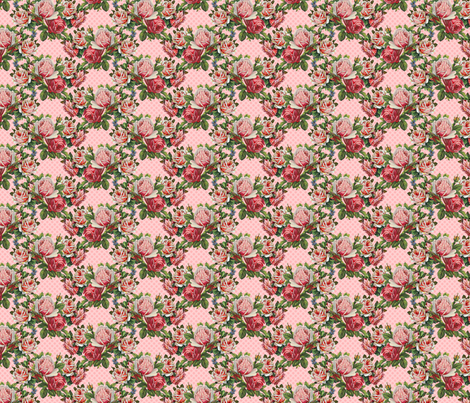 Shabby roses do the polka in pink fabric by vo_aka_virginiao on Spoonflower - custom fabric