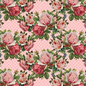 Shabby roses do the polka in pink