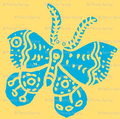 Bright Sky Blue Butterfly on Soft Yellow