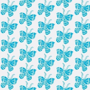 Bright Sky Blue Butterfly on White