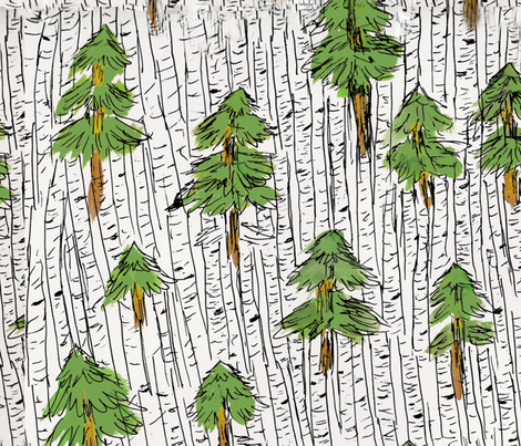 Evergreen and Birch Trees fabric by rachelfitzgerald on Spoonflower - custom fabric