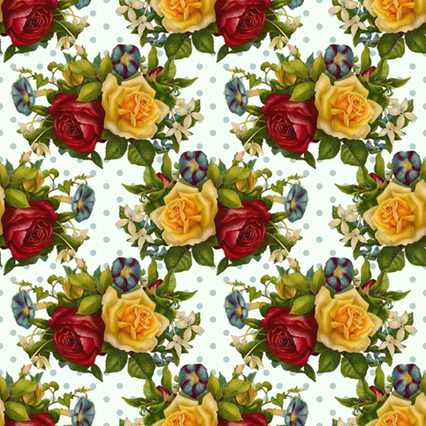 shabby roses do the polka  fabric by vo_aka_virginiao on Spoonflower - custom fabric