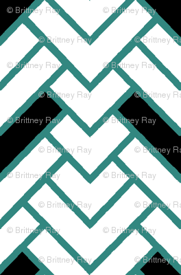 Teal & White Herringbone Chevron