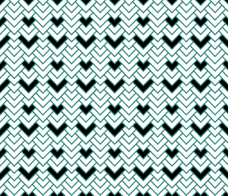 Teal & White Herringbone Chevron fabric by pond_ripple on Spoonflower - custom fabric