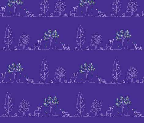 woodland doodle blue fabric by coggon_(roz_robinson) on Spoonflower - custom fabric