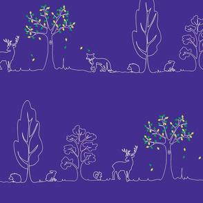 woodland doodle blue