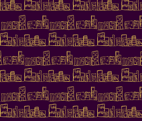 los angeles high rises night fabric by allida on Spoonflower - custom fabric