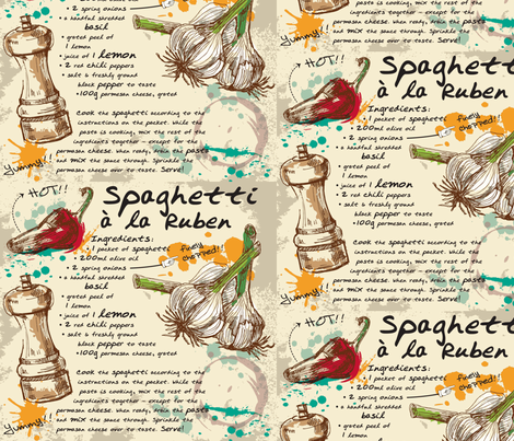 Spaghetti a la Reuben fabric by annelize on Spoonflower - custom fabric