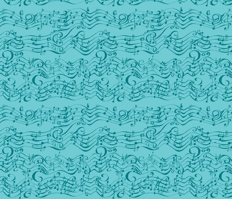 Phantom Music Teal fabric by kellyw on Spoonflower - custom fabric