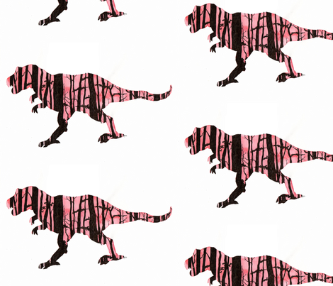 Tree Silhouette (T-Rex) fabric by *erinred* on Spoonflower - custom fabric