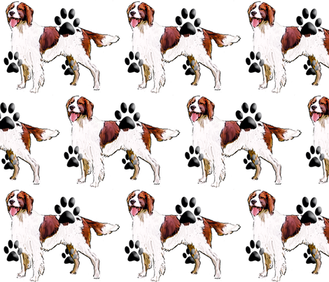Red and White Setter fabric by dogdaze_ on Spoonflower - custom fabric