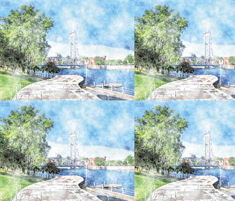 Main Lift Bridge, S fabric by animotaxis on Spoonflower - custom fabric
