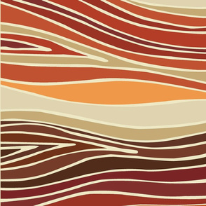 Rust Orange Wave Ikat