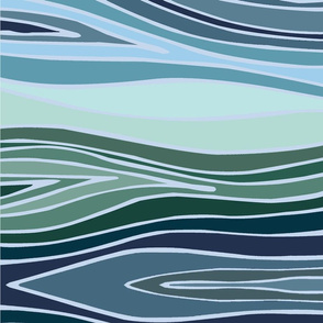 Blue Green Wave Ikat