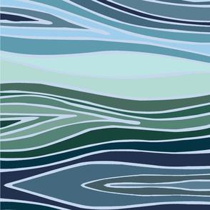 Blue Green Wave Ikat