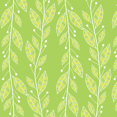 Viney Leaves (Green) fabric by robyriker on Spoonflower - custom fabric