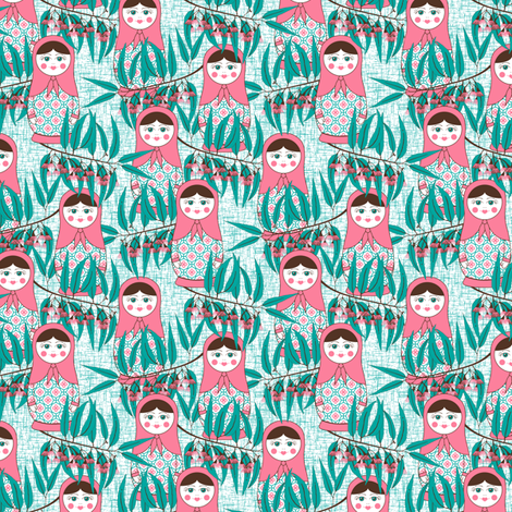 Matryoshka of the Eucalypt - Aqua fabric by inscribed_here on Spoonflower - custom fabric