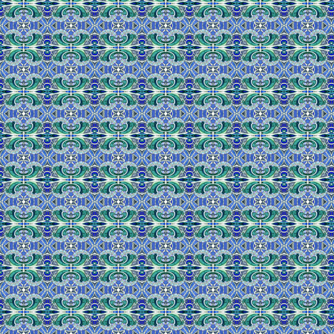 Teeny, Tiny, Blue and Green Victorian Calico (doll scale) fabric by edsel2084 on Spoonflower - custom fabric