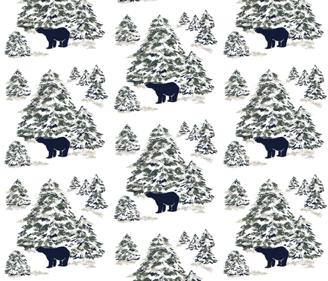 Black Bear Forest fabric by karenharveycox on Spoonflower - custom fabric