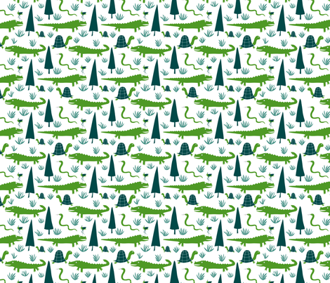 Alligators Are Evergreen in the Everglades fabric by vo_aka_virginiao on Spoonflower - custom fabric