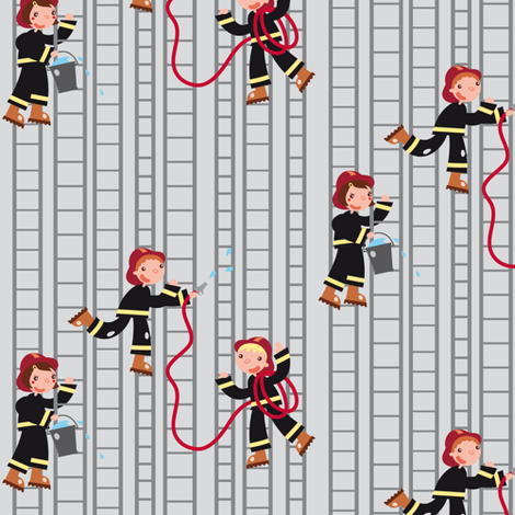 Firemen, on the roll! (ladders) fabric by verycherry on Spoonflower - custom fabric