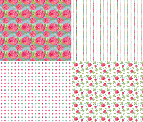 Cabbage Rose Collection fabric by countrygarden on Spoonflower - custom fabric
