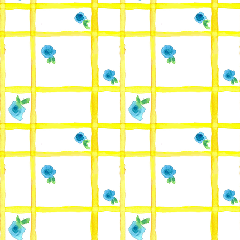 Yellow Blossom Plaid fabric by countrygarden on Spoonflower - custom fabric