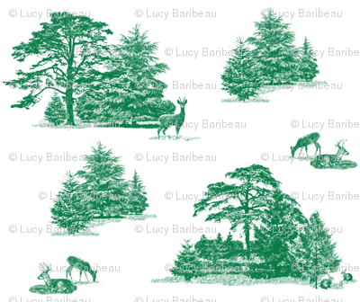 Evergreens toile with animals